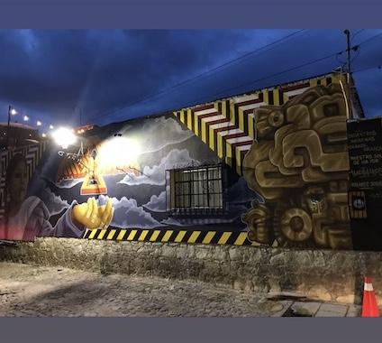 mural, street barriers, cocijo, thunderbird, anishinaabe, mexico, oaxaca, canada, indigenous artist